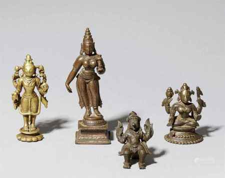 Four Indian brass and copper aloy figures