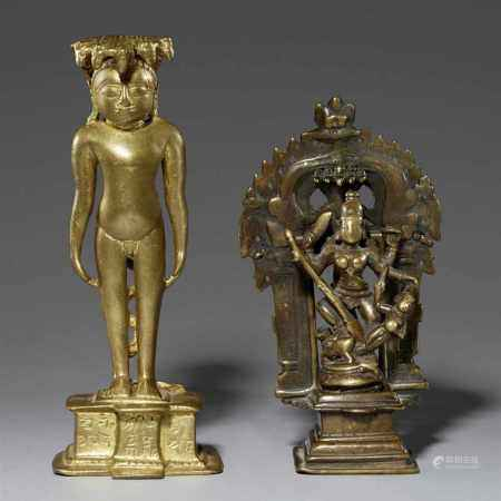 A Maharashtra copper ally Jain figure and a Durga altar in three pieces. 17th/19th century