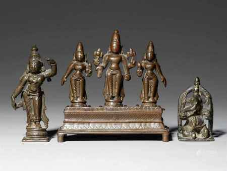A group of South-Indian and Central Indian bronze figures. 19th century or earlier