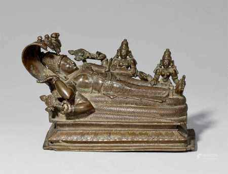 A South Indian copper alloy figure of Anantashayana. 19th century