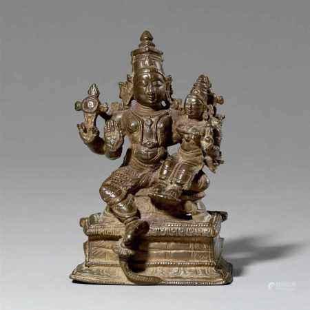 A South Indian copper alloy Lakshmi Narayana. 17th/19th century