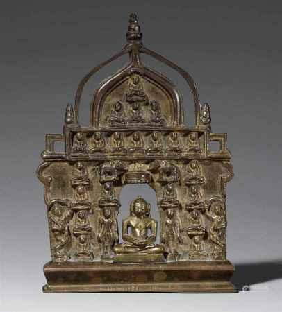 A bronze jain altar with 24 jina (chauvisi). 19th century