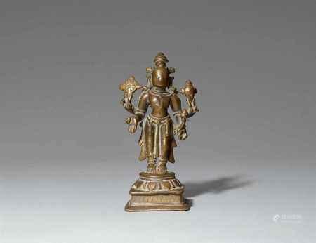 A Maharashtra brass figure of Vishnu. 17th/19th century