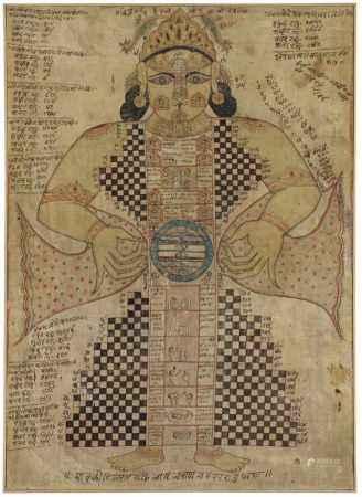 A Rajasthani Jain diagram of Purushakara-Yantra. 18th/19th century