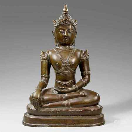 A Northern Thai bronze crowned and bejeweled Buddha. 17th century or later
