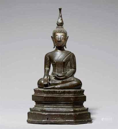 A Chiang San bronze figure of Shakyamuni maravijaya. Thailand. 15th/16th century