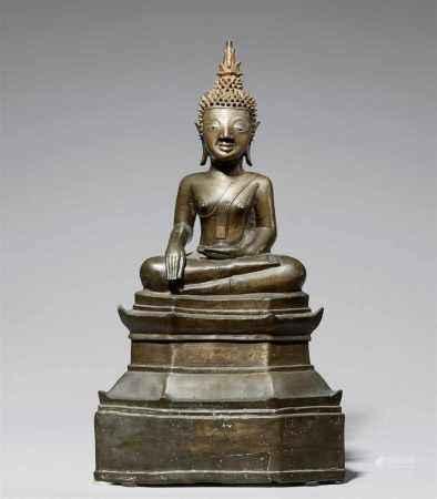 A Laotian bronze figure of Buddha Shakyamuni. 16th/17th century