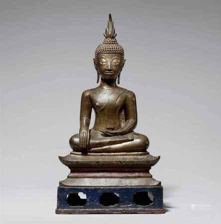 A Laotian bronze figure of Buddha Shakyamuni. 17th century