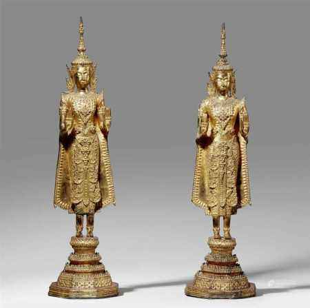 Two Ratanakosin lacquered and gilded bronze figures of a bejewelled Buddha. Thailand. 19th