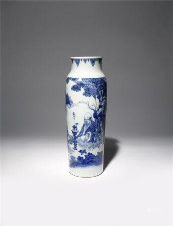 A CHINESE BLUE AND WHITE 'LONGEVITY' SLEEVE VASE