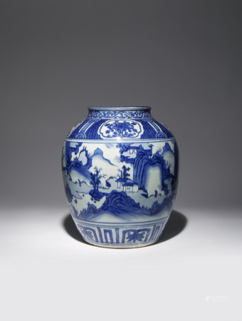 A LARGE CHINESE BLUE AND WHITE 'LANDSCAPE' VASE