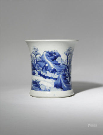 A CHINESE BLUE AND WHITE 'LANDSCAPE' BRUSHPOT
