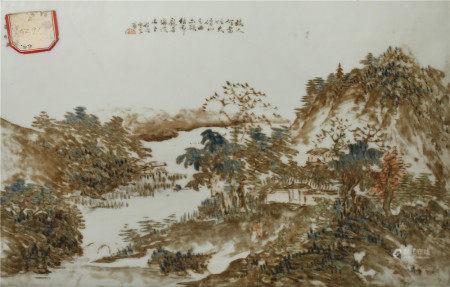 A PAIR OF CHINESE ENAMELLED PORCELAIN 'LANDSCAPE' PLAQUES