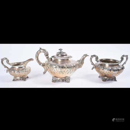 Irish Early Victorian Three Piece Sterling Silver Tea
