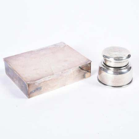 Tiffany Sterling Silver Inkwell and an English Silver