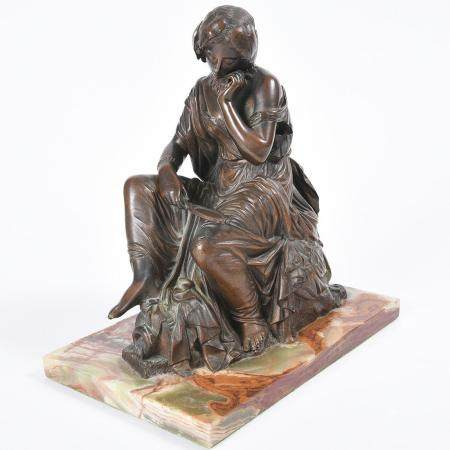 Bronze Figure of a Seated Woman After James Pradier