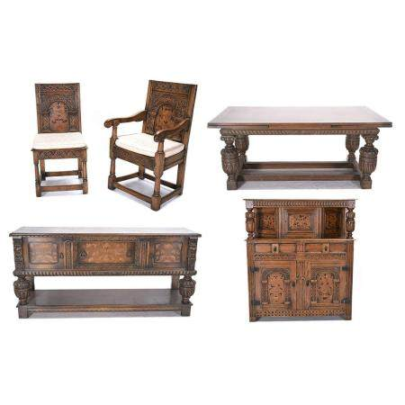 Jacobean Style Oak Inlaid Dining Suite.