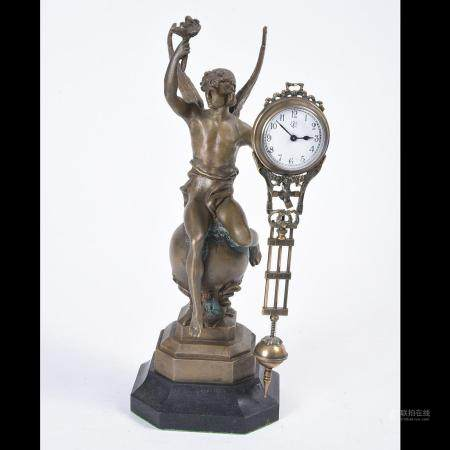 Figural Junghans Swinger Clock, Winged Apollo Seated on