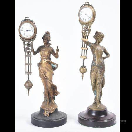 Two Figural Mystery Swinger Clocks: Junghans and