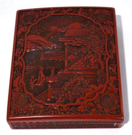 A Chinese Carved Cinnabar Lacquer Box, late Qing Dynasty,