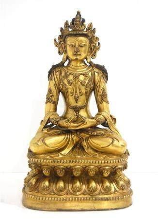 A Fine Sino-Tibetan Figure of Maitreya, Gilt Bronze Alloy, S