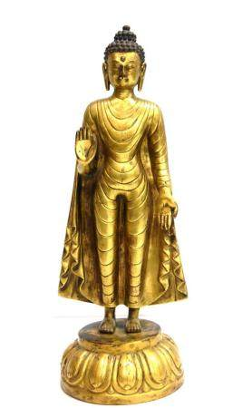 A Fine Sino-Tibetan Gilt Bronze Alloy Buddha, the Tall Slend