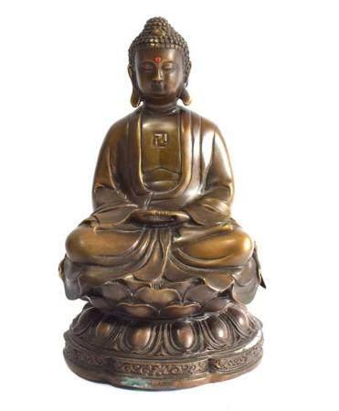 A Chinese Bronze Alloy Shakyamuni Buddha, the Robe Draped ov