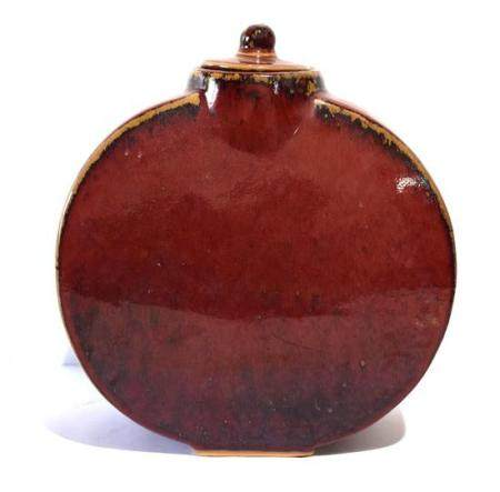 A Large Flambé Red Glazed Flask with a Short Shaped Neck & C