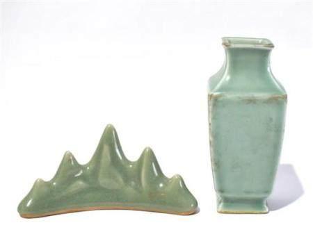 A Celadon Glazed Brush Rest & Vase for the Scholar's Table,