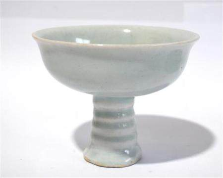A Chinese Qingbai Style Glazed Stem Bowl with Rounded Sides