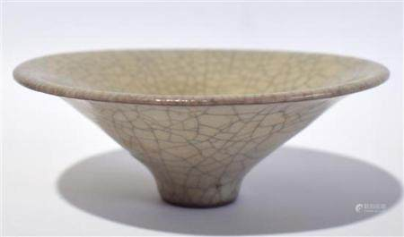 A Chinese Conical Shaped Crackle Glazed Bowl,