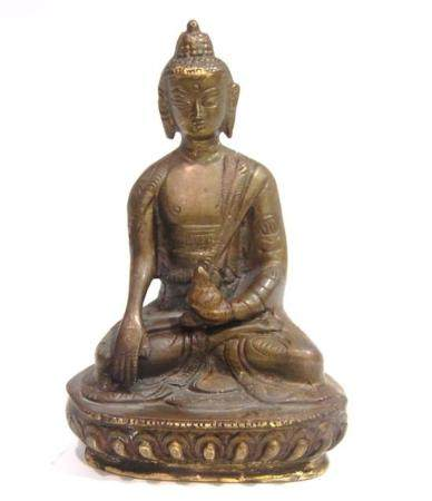 A Chinese Copper Alloy Buddha, Cast Holding a Vase