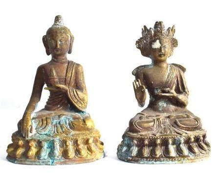 Two Bronze Alloy Figures a Buddha & a Tara, Nepal / Tibet, 2