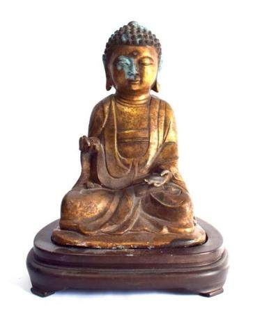 A Gilt Bronze Alloy Buddha with fine hands in the Mudra of,