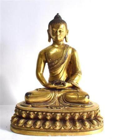 A Tibetan Gilt Bronze Alloy Shakyamuni Buddha, both Hands Re