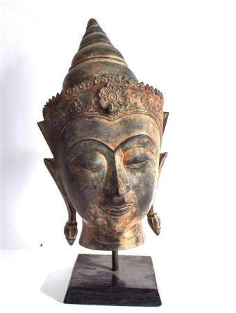 A Large Bronze Alloy Thai Buddha Head the Fine Featured Youn