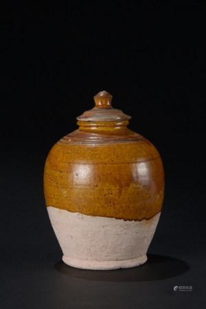 唐代 黃釉蓋壺