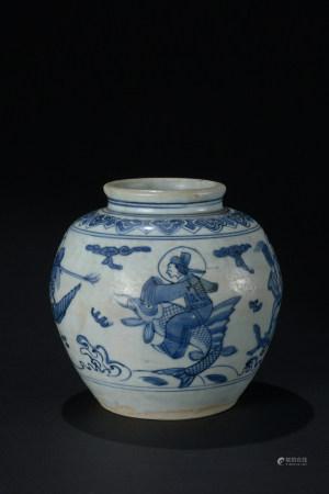 明代 青花僊人紋罐