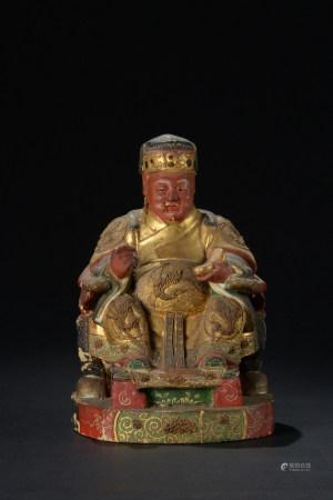 明代 朱漆描金財神座像