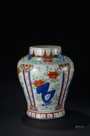 明代 五彩花卉紋回系大罐