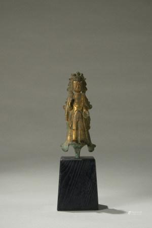 唐代 銅鎏金菩薩立像