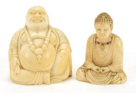 Two good Chinese ivory carvings of Buddha including one with Shibayama, the largest 7.5cm high :