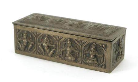 Burmese unmarked silver box with hinged lid, embossed with deities, 10cm wide, 100.9g :For Further
