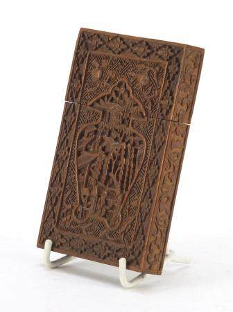 Good Chinese Canton sandalwood card case, finely carved with a vase motif enclosing figures