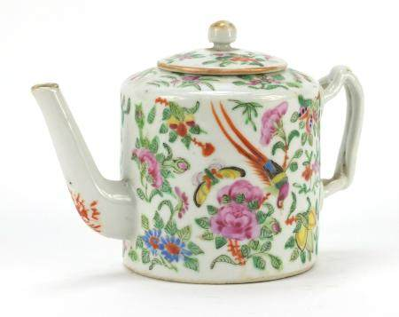 Chinese Canton porcelain teapot hand painted in the famille rose palette with birds and