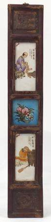 Pair of Chinese porcelain panels housed in a hardwood frame, each hand painted with monks and