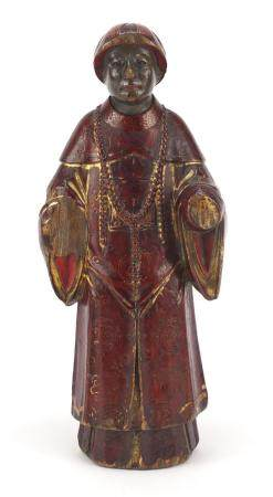 Antique Chinese red lacquered wood carving of a man wearing a robe, 24cm high :For Further Condition