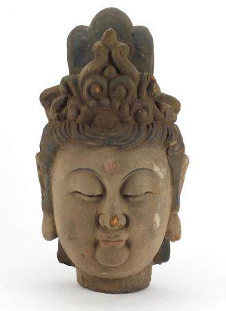 Chinese painted carved wood bust of Guanyin, 40cm high :For Further Condition Reports Please Visit