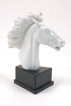 A Meissen blanc de chine model of a horses head, 20th century, signed Erich Oehme 1949, mounted on a