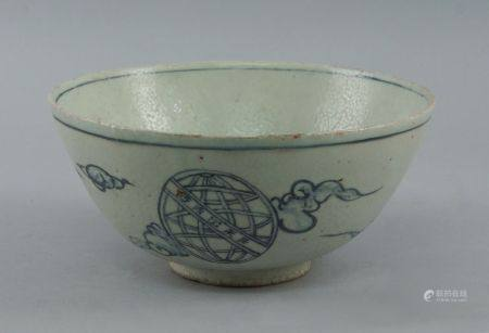 A Chinese blue and white pottery bowl, in the Ming taste, of recent manufacture, decorated to the